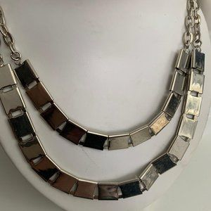 Silver chain necklace double strand chain necklace